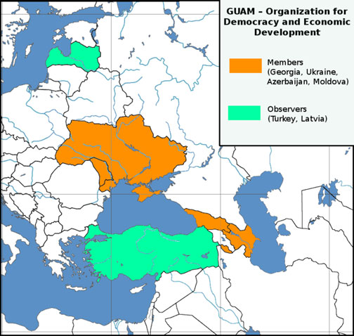 Map Of GUAM Georgia Ukraine Azerbaijan And Moldova - Georgia map ukraine